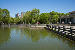 Asia, China, Beijing, yangshan park, Landscape architecture, lake, stone railings Royalty Free Stock Photos