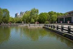 Asia, China, Beijing, yangshan park, Landscape architecture, lake, stone railings Royalty Free Stock Photos