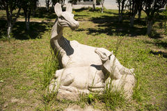 Asia, China, Beijing, yangshan park, landscape sculpture, sika deer, mother and child Stock Photos