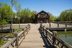 Asia, China, Beijing, yangshan park, Wooden house,Wood railings Stock Photography