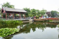 Asia China, Beijing, Yu River Heritage Park,Summer landscape, lake, pavilion, bridge Stock Photos
