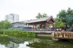 Asia China, Beijing, Yu River Heritage Park,Summer landscape, lake, Pavilion Royalty Free Stock Photo