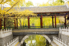 Asia China, Beijing, Zhongshan Park, Antique building, Promenade, bridge Stock Photos