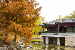 Asia China, Beijing, Zhongshan Park, antique building, Waterside Pavilion Stock Photography