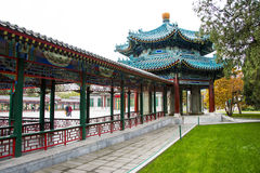 Asia China, Beijing, Zhongshan Park, antique buildings,Pavilion, Gallery Stock Images
