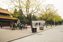 Asia China, Beijing, Zhongshan Park,Building and garden flowers Stock Photography