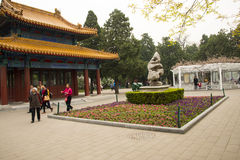 Asia China, Beijing, Zhongshan Park,Building and garden flowers Royalty Free Stock Photos