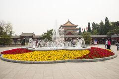 Asia China, Beijing, Zhongshan Park, fountain flower bed Royalty Free Stock Images