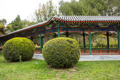 Asia China, Beijing, Zhongshan Park, The Long Corridor. Asia China, Beijing, Zhongshan Park, Garden landscape, antique architectural promenade, spherical green Stock Images