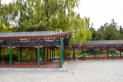 Asia China, Beijing, Zhongshan Park, The Long Corridor. Asia China, Beijing, Zhongshan Park, Landscape, promenade, the traditional architectural style, simple Stock Photo