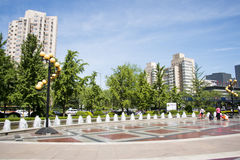 Asia China, Financial Street, Beijing, square fountain Royalty Free Stock Image