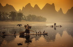 ASIA CHINA GUILIN. The landscape at the Li River near Yangshou near the city of  Guilin in the Province of Guangxi in china in east asia Royalty Free Stock Photo