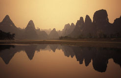 ASIA CHINA GUILIN. The landscape at the Li River near Yangshou near the city of  Guilin in the Province of Guangxi in china in east asia Royalty Free Stock Images