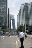 Asia, China, Pekín, distrito financiero central de CBD, calle, edificios altos y arquitectura moderna Foto de archivo