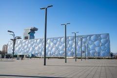 Asia China, Pekín, los Aquatics nacionales se centra, el aspecto del edificio Foto de archivo libre de regalías