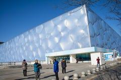 Asia China, Pekín, los Aquatics nacionales se centra, el aspecto del edificio Fotos de archivo libres de regalías