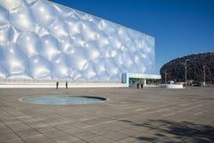 Asia China, Pekín, los Aquatics nacionales se centra, el aspecto del edificio Imágenes de archivo libres de regalías