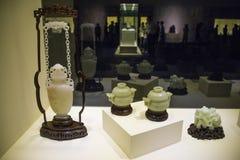 Asia China, Pekín, Museo Nacional, sala de exposiciones interior, jade de Hetian, botella de cadena Fotografía de archivo