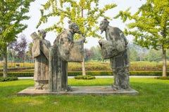 Asia China, Pekín, shunyi florece, escultura del paisaje, caracteres antiguos, el amigo de comprensión Imagen de archivo libre de regalías