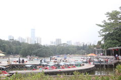 Asia,China,the Pleasure boat wharf in Shenzhen litchi Park Royalty Free Stock Photo