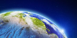 Asia - China from space. Elements of this image furnished by NASA. 3d rendering stock illustration