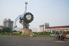 Asia China, Tianjin, landscape architecture, century Bell Square stock photos