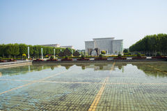 Asia China, Wuqing Tianjin, cultural park, square, Fountain pool Royalty Free Stock Images