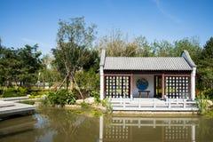 Asia China, Wuqing, Tianjin, expo verde, arquitectura de paisaje, patio Foto de archivo