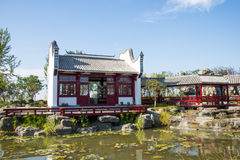 Asia China, Wuqing, Tianjin, expo verde, arquitectura de paisaje, patio imagenes de archivo