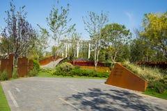 Asia China, Wuqing, Tianjin, expo verde, paisaje del parque Imágenes de archivo libres de regalías