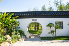 Asia China, Wuqing, Tianjin, Green Expo, Garden architecture,White wall, circular door Royalty Free Stock Photography