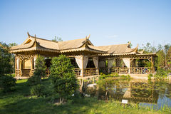 Asia China, Wuqing Tianjin, Green Expo, landscape architecture, bamboo Pavilion Stock Image