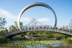 Asia China, Wuqing Tianjin, Green Expo, landscape architecture, bridge Royalty Free Stock Photo