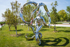 Asia China, Wuqing, Tianjin, Green Expo,Landscape sculpture, the woman waving ribbons Stock Photo