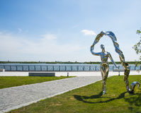 Asia China, Wuqing, Tianjin, Green Expo,Landscape sculpture, the woman waving ribbons Stock Images