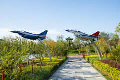 Asia China, Wuqing, Tianjin, Green Expo, park landscape, aircraft model Royalty Free Stock Images