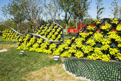 Asia China, Wuqing, Tianjin, Green Expo, the park landscape, Landscape wall built with waste tire Royalty Free Stock Photos