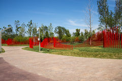 Asia China, Wuqing, Tianjin, Green Expo, the park landscape, A wall of red PVC tubes. Royalty Free Stock Photo