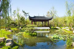 Asia China, Wuqing, Tianjin, Green Expo,Pavilion, Gallery. Asia China, Wuqing, Tianjin, Green Expo, the traditional architectural style, simple and elegant stock photo