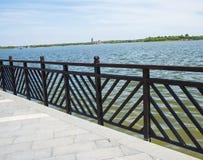 Asia China, Wuqing, Tianjin, Green Expo,Shore,Wooden railing Stock Photo