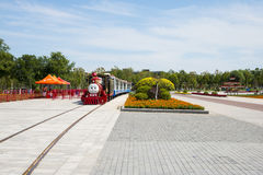 Asia China, Wuqing, Tianjin, Green Expo,South Lake Square, sightseeing train Stock Image