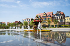 Asia China, Wuqing, Tianjin, Green Expo, square, fountain, European style architecture Royalty Free Stock Photos