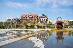 Asia China, Wuqing, Tianjin, Green Expo, square, fountain, European style architecture Stock Photos
