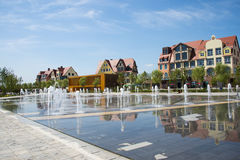 Asia China, Wuqing, Tianjin, Green Expo, square, fountain, European style architecture Stock Image