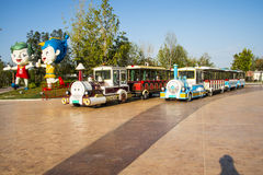 Asia China, Wuqing, Tianjin, Green Expo,Tourist train, cartoon mascot Royalty Free Stock Images