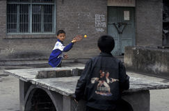 ASIA CHINA YANGZI RIVER. Cilder play table tennis in the city of wushan on the yangzee river near the three gorges valley up of the three gorges dam project in Royalty Free Stock Images