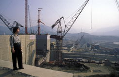 ASIA CHINA YANGZI RIVER. The constructions work at the three gorges dam project on the yangzi river in the province of hubei in china Stock Photography