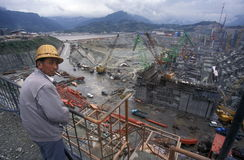 ASIA CHINA YANGZI RIVER. The constructions work at the three gorges dam project on the yangzi river in the province of hubei in china Stock Photos