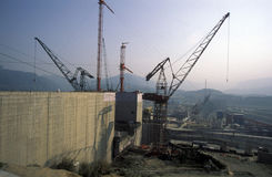 ASIA CHINA YANGZI RIVER. The constructions work at the three gorges dam project on the yangzi river in the province of hubei in china Royalty Free Stock Photos