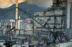 ASIA CHINA YANGZI RIVER. The constructions work at the three gorges dam project on the yangzi river in the province of hubei in china Stock Images